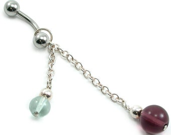 Rainbow Fluorite and Sterling Silver, Beaded, Dangle Belly Ring.  Artisan Jewelry by SilviaMaciasDesigns on Etsy