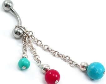 Turquoise, Red Coral Belly Ring. Turquoise, Red Coral, Sterling Silver Beaded Dangle Belly Ring. Body Jewelry December Birthstone, Southwest