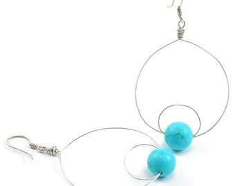 Turquoise, Silver, Hoop Earrings. Turquoise, Sterling Silver, Wire Wrapped, Double Loop, Beaded, Boho, Hoop Earrings. December Birthstone