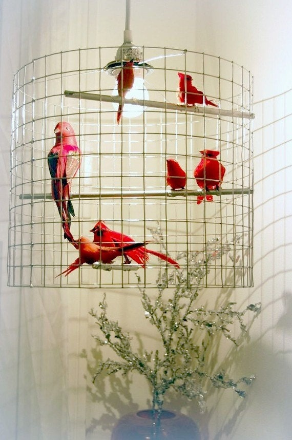ruby red birdcage chandelier