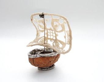 Thumbelina Walnut Sailboat - Vintage Doily, Walnut, Soldering