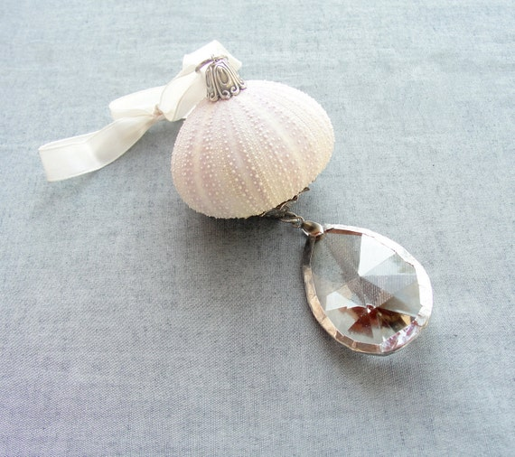 Sea Urchin Ornament with Vintage Crystal