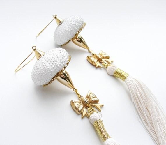 Long Sea Urchin Ornaments- set of two (Ooak)
