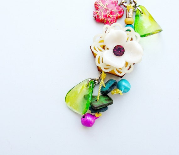 Exotic Vintage Flower Keychain / Bag Adornment