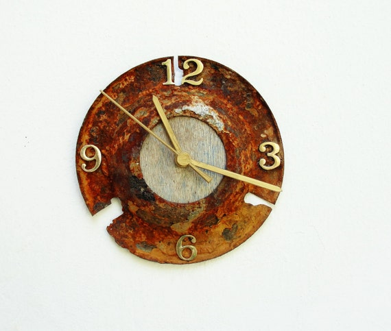 What Time can Do Clock - Rusted Metal, Driftwood and Brass