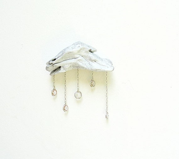 Driftwood Cloud with Vintage Crystal Raindrops - Wall Hanging - Small