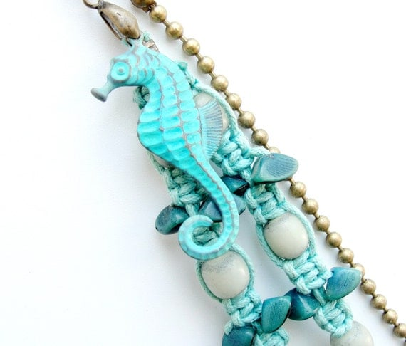 Seahorse and Seafoam Keychain / Bag Ring