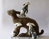 RESERVED Baby Hare Otus           Soft Sculpture   who values friendship and won't rock the boat