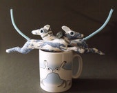 puppy loves friends      tiny canine Ornament Soft Sculpture in toile du juoy greyhound fabric