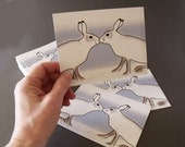 Kissing Hares Wish You Were Here Postcard set of 6 arctic hares white snow bunny rabbit love smooch kiss adore winter frost  notecard