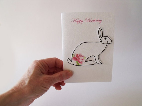 Happy Birthday Handmade Card   with a beautiful elegant hare in pink roses just waiting to help you enjoy all those chocolates