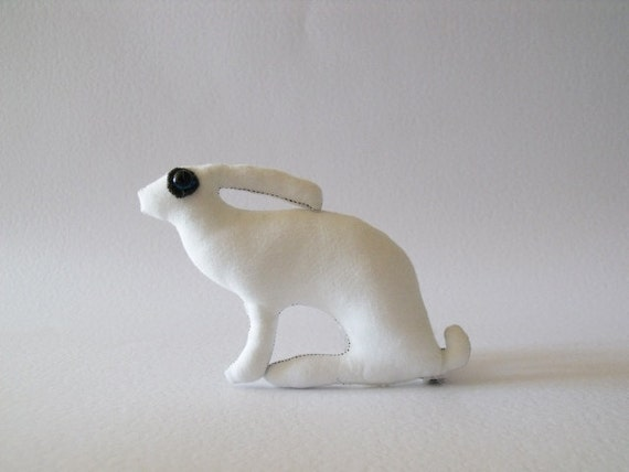 the white Hare            Baby Hare tiny Ornament Soft Sculpture companion for you   No2