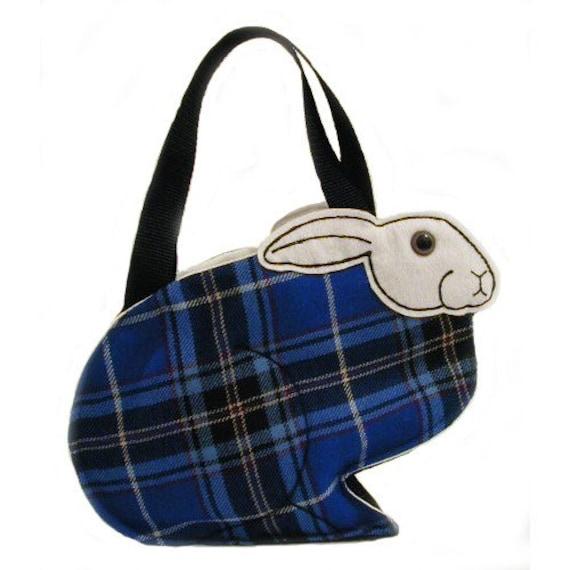 Arabella Rabbit Bag in Scottish Wool Blue Tartan jumper donating 10per cent to the BUAV