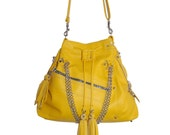 SALE WAS 310 Amelie, studded yellow leather drawstring tote, shoulder bag, handmade
