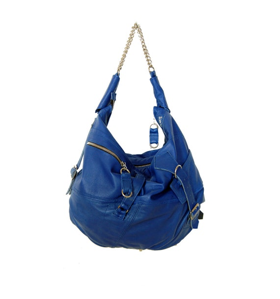Marine, blue leather hobo shoulder bag with strap detail, handmade