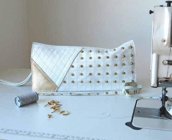 SALE WAS 80 Studded white and gold leather clutch bag, handmade unique