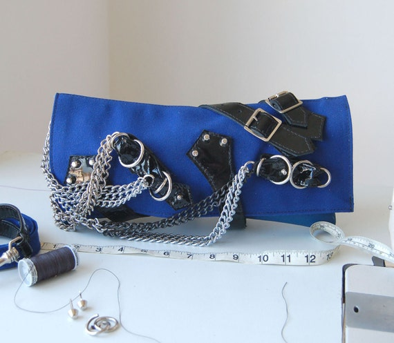 Blue Canvas  Leather Shoulder Clutch Bag Handmade.