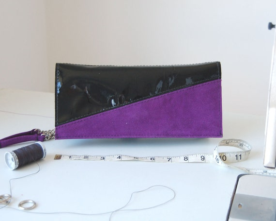 SALE WAS 70 Patent black leather and purple suede clutch, handmade.