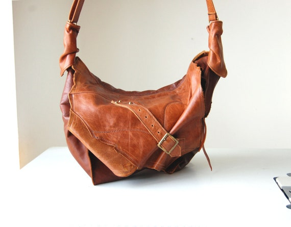 Maria, handmade antiqued tan brown leather hobo shoulder bag.