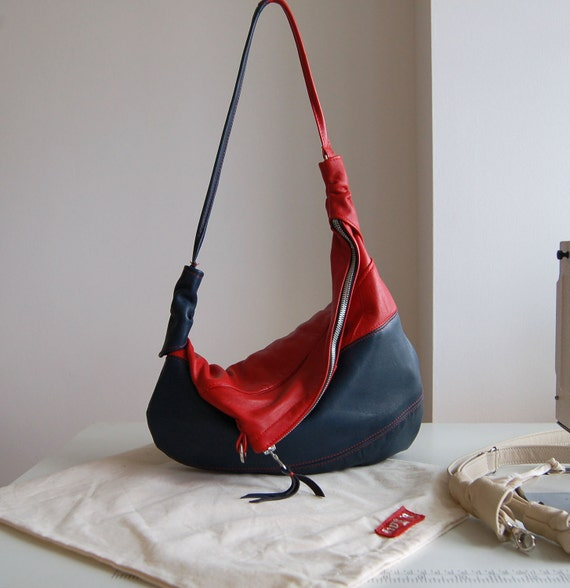 Rosaire, upcycled navy and red leather hobo shoulder bag, handmade.