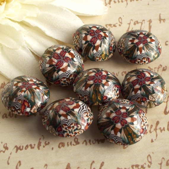 Handmade Polymer Clay Kaleidoscope Lentil Beads, by CAG