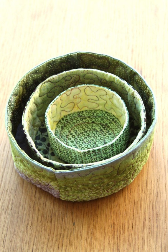 quilted soft sculpture nesting bowls - verdant spring - free shipping to US