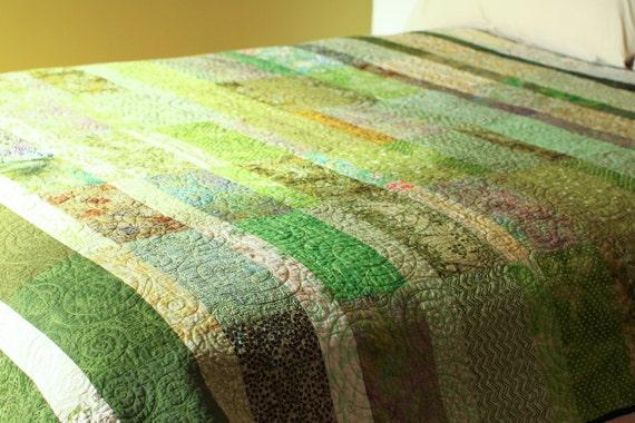 3rd payment - RESERVED for Sarah Bird - Quilt - queen size - spring grass green