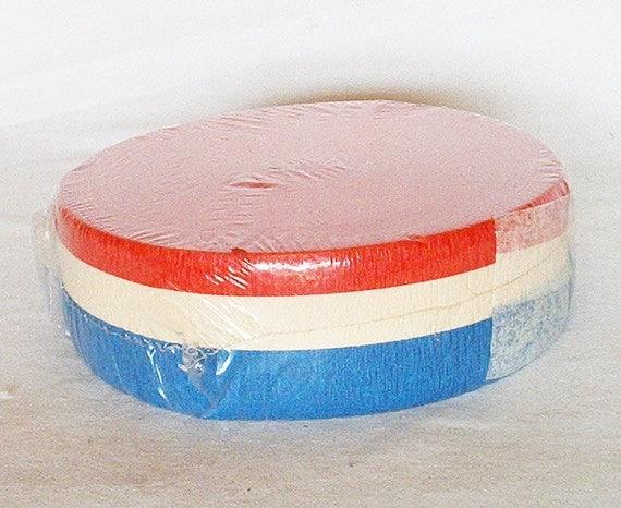 Huge Vintage Red White and Blue Patriotic Dennison Crepe Paper Roll