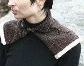 Brown Eyelet Capelet with White Trim and Brass Closure on Collar for Women or Girls FREE SHIPPING