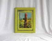 Original Photograph Fence Post Farm Rustic Country Cabin Decor Bright Lime Green Flowers 8x10 Framed