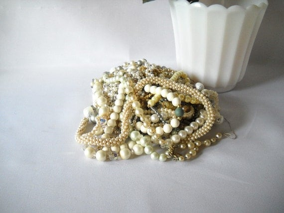 Vintage Jewelry Lot Faux Pearl Necklaces Bead Strands Plastic Beads 1 Pound of Jewelry