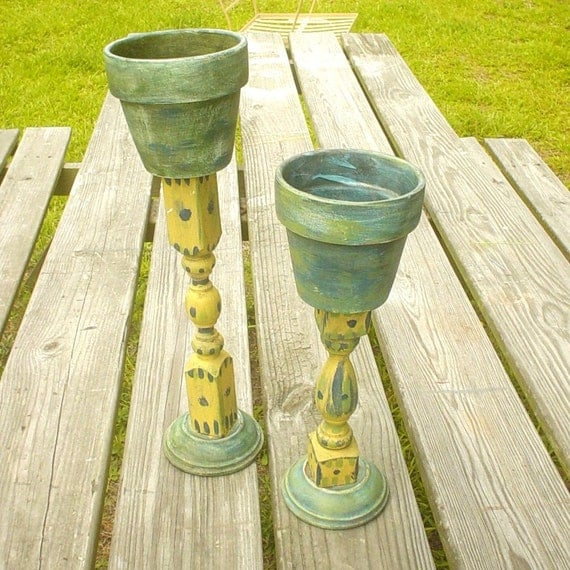Wood And Pottery Plant Stands Flower Pots Candle Holders