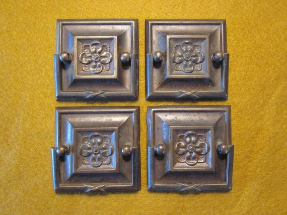 set of 4 vintage arts and crafts drawer pulls by 5and10vintage