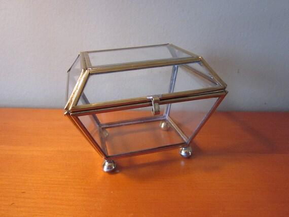 Vintage Brass and Glass Curio Treasure Box