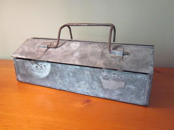 Vintage Galvanized Metal Tool Box