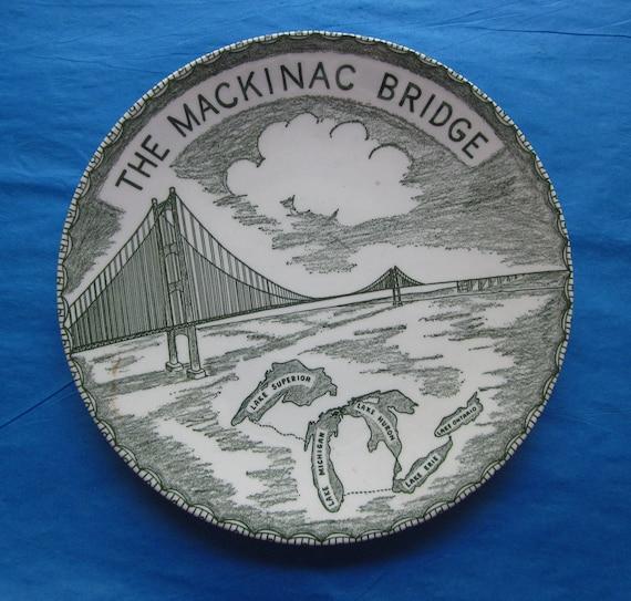 Vintage Michigan Mackinac Bridge Souvenir Plate