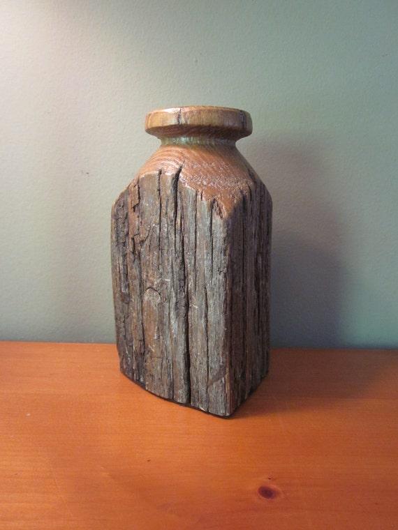Vintage Rustic Textured Wooden Vase