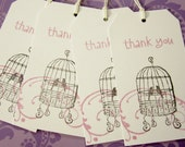 10 Vintage Style Fancy Thank you Favour Gift Tags  Birds in Birdcage Hand Stamped with Twine