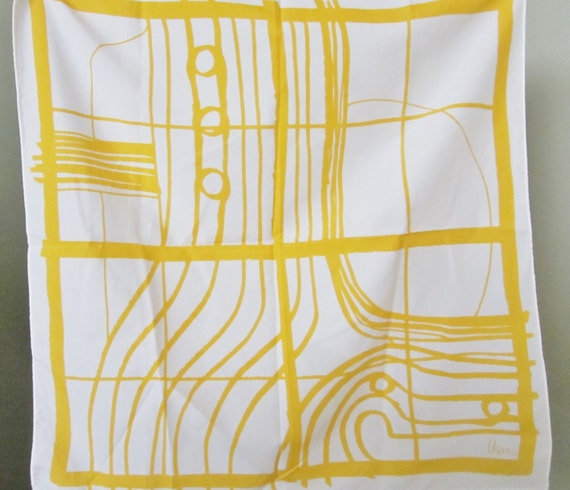 Vintage Vera Neumann Yellow Sunshine Nautical Scarf Abstract Pattern