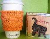 Handmade Hot Orange Coffee Sleeve Knit