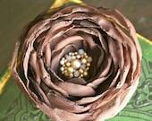 Espresso Brown Latte Beaded Chiffon Hair Flower