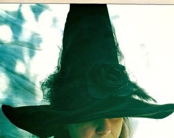 Witch Hat Halloween Elegant Black Hat Society Witches Hat, Adult Witch Costume