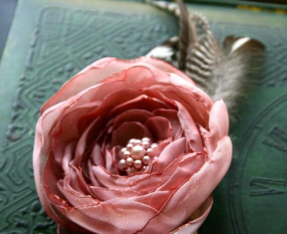 Pink Hair Flower Feathers Fascinator