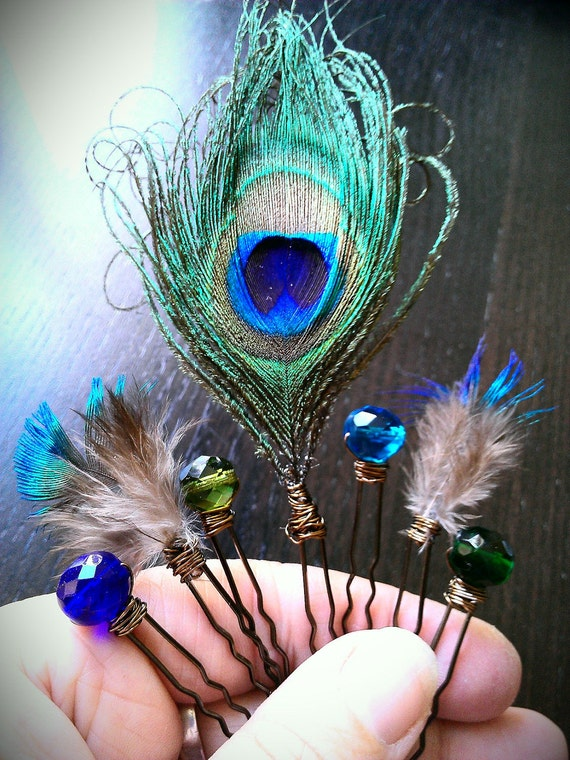 Peacock Feathers Hair Pins