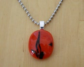 Red Valentine Love Necklace with Fused Glass Pendant