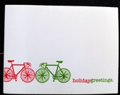 Letterpress Holiday Bicycle Cards - set of 5