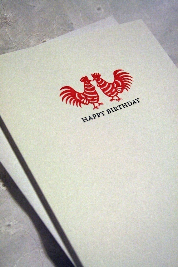 Letterpress Red Rooster Birthday Card