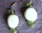 Earrings, Dangle, Apple Green, Chrysoprase, Green Accent Beads, 1 1/4 Inches, www.jodaycraf.etsy.com