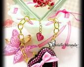 SALE SALE GLAM Barbie Pretty Pink Sparkle Heart Necklace