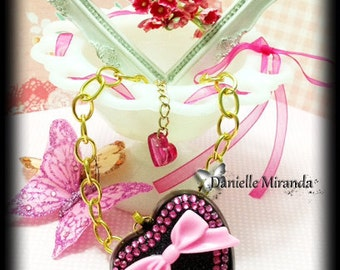 SALE SALE GLAM Barbie Pretty Pink Sparkle Heart Necklace
